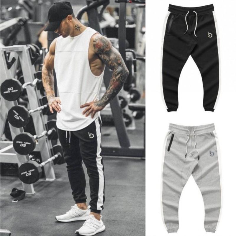Men's Pants Gyms Brand Summer Fitness Elastic Breathable Sweat Grey Drawstring Trousers Zipper Pantalon Homme