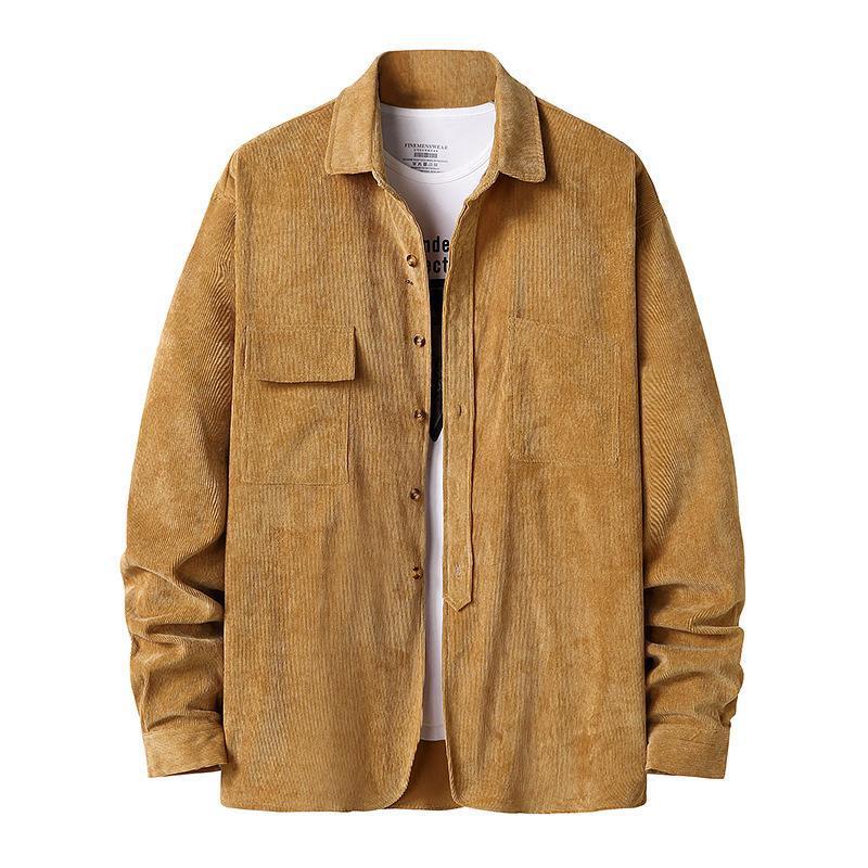 패션 브랜드 남성용 코듀로이 헨리 칼라 가을과 겨울 긴팔 셔츠 자켓 캐주얼 셔츠