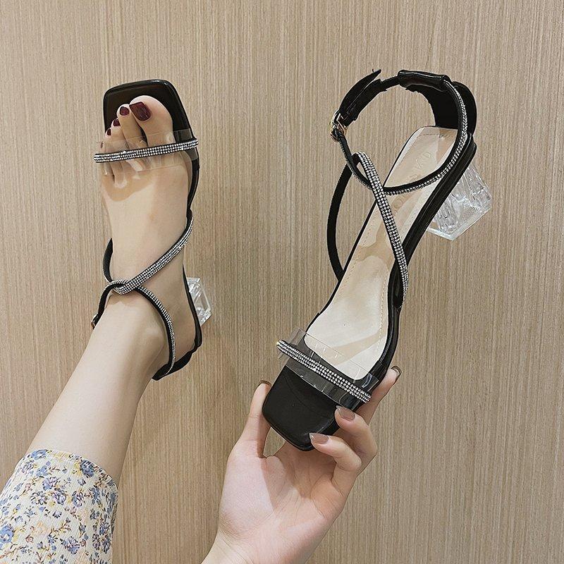 Şeffaf Topuk Sandalet Kadınlar Kristal Dar Bant Ayakkabı Yaz Parti Elbise Açık Toe Clear Mujer