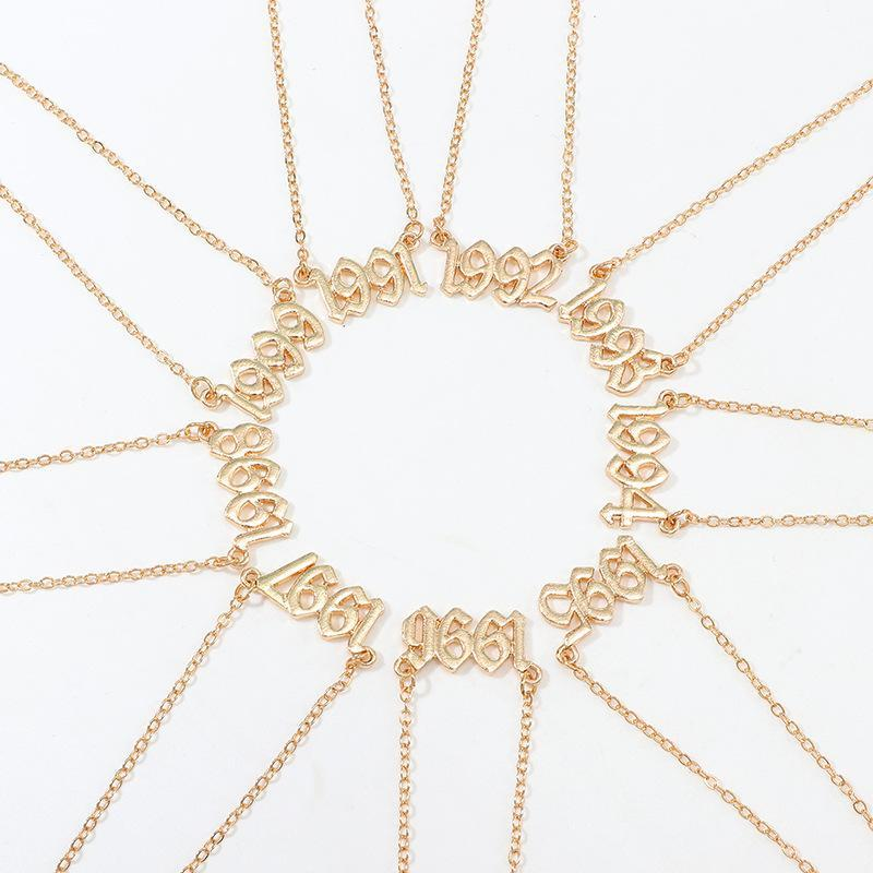 Gold Couleur En Acier Inoxydable Naissance Année Naissance Pour Femmes Hommes Mâle Mâle Pendentif Collier Collier De Mode Col Bijoux Chaînes