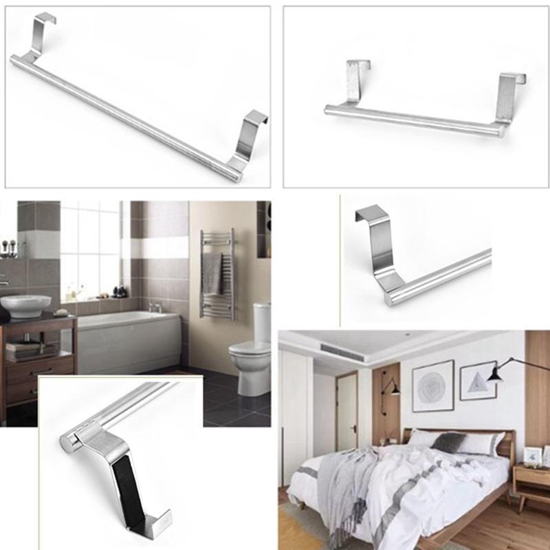 1 PC Banheiro Banheiro Banheiro Titular De Armazenamento De Aço Inoxidável Toalha Auto Adesivo Montado Pendurado Bar Bar Rack Ganchos Rails
