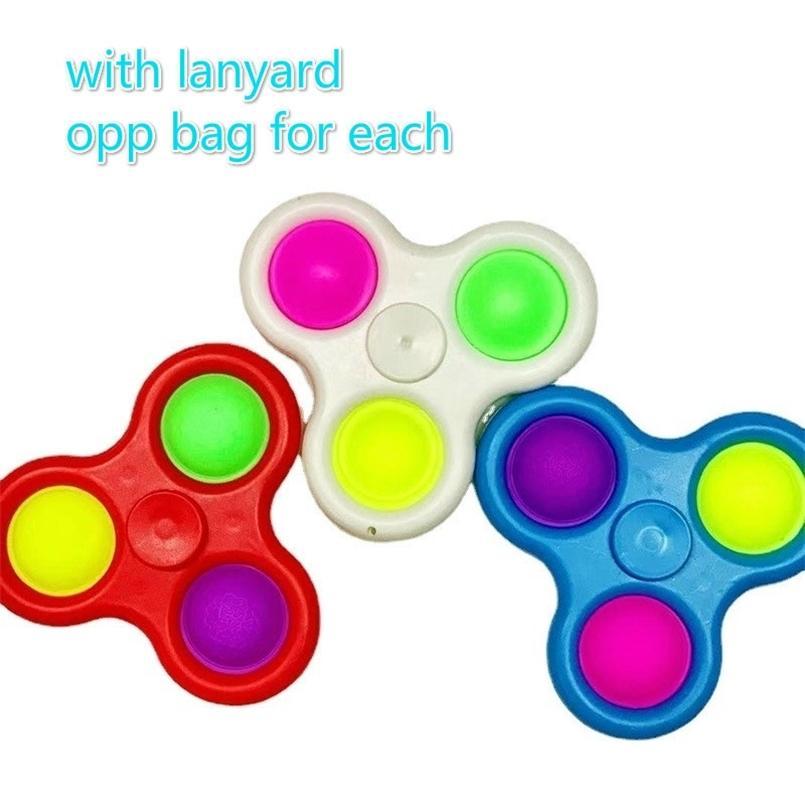 Push Bubble Pop Zappeln Spinner Spielwaren mit Lanyard Simple TIK TOK Key Ring Sensorische Fingerblasen Keychain Fingerspitzen Stress Relief Squeeze Balls Spinners G33i2oy