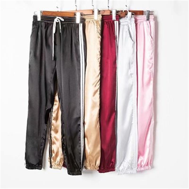 Femme Satin Satin Cargo Pantalons Femmes Europe Casual Sport Casual Femmes Joggers Streetwear Cargo Pantalons Femmes
