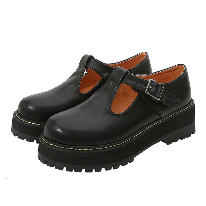 Elbise Ayakkabıları Roma Bayan Orta Tıknaz Creepers Topuk Platformu Yaz Kayış Sandalet Rahat Gotik Siyah Oxfords Retro Artı Boyutu 7JQQ