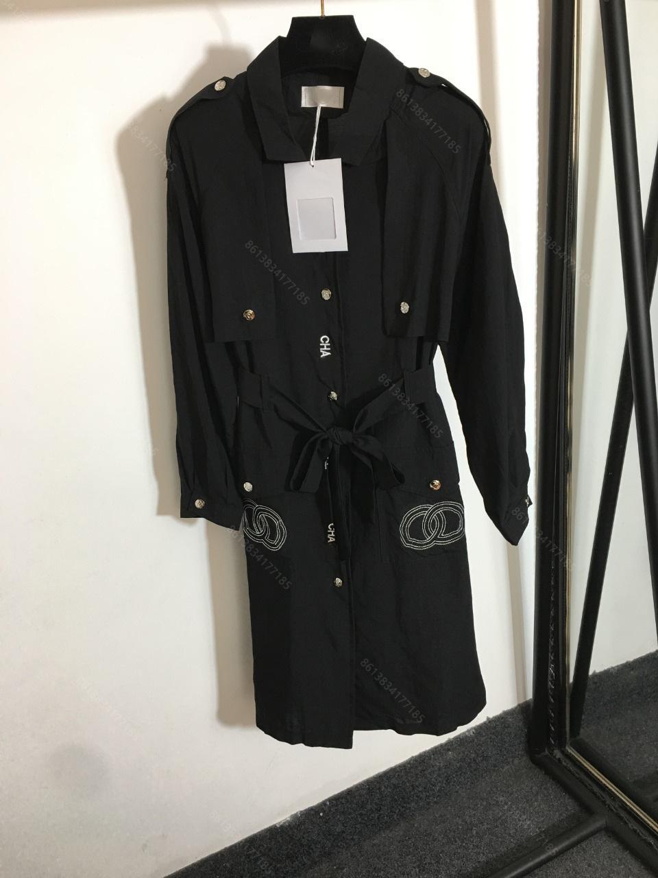 2021 الشتاء cc ماركة معطف المرأة مصمم طويل خندق معطف شعار المطرزة جيب طويلة الأكمام أعلى أسود سترة المرأة