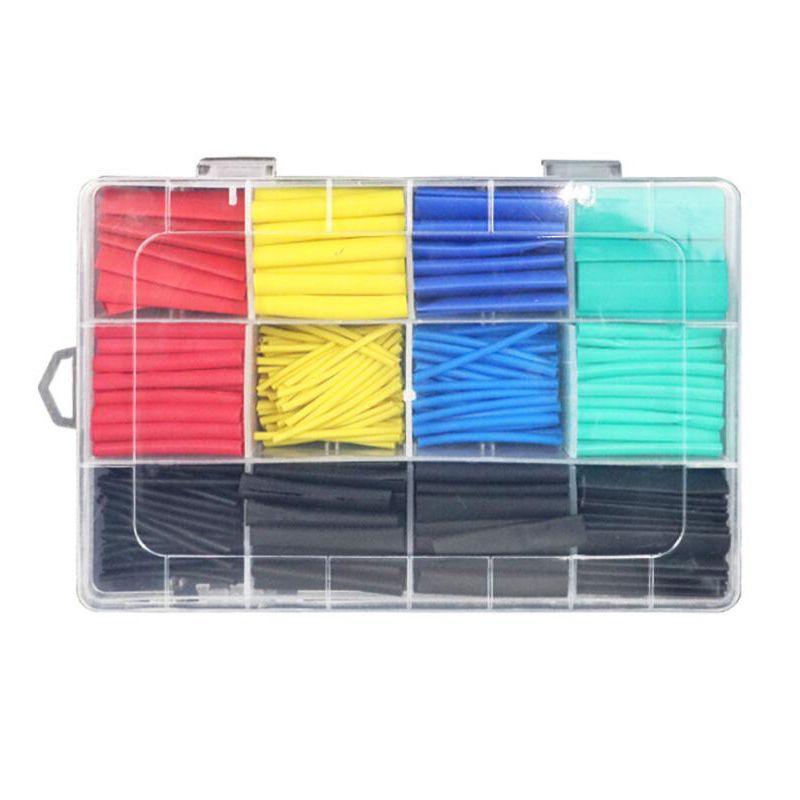 530pcs Termini termorestringenti Connettori Connettori Isolamento Tubi termoretraibili Assortimento Assortimento Polyolefin Electronic Wire Cable Sleeve Kit Suodri Ridrutta Tubo