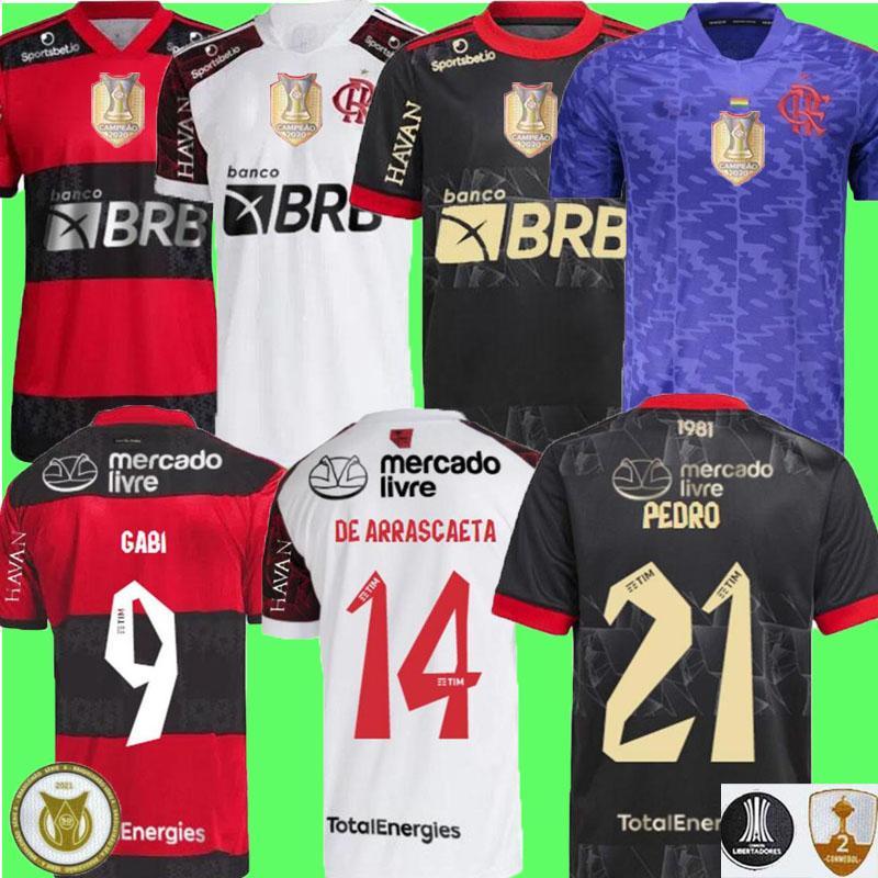 21 22 Flamengo Soccer Jersey Third 2021 2022 البرازيل Supercopa de arsicaeta غيريرو دييغو غابي بيدرو كاميسا منجو غابرييل ب كرة القدم كيندي لاعب نسخة قميص