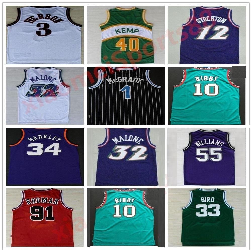 Jerseys de baloncesto retro Carter McGrady Penny Hakeem Stockton 32 Karl Malone 33 Hill Ason West Allen 3 Iverson Mike Bibby Kevin Garnett Jersey