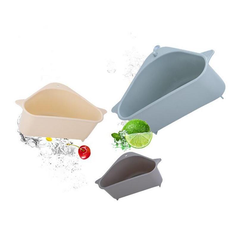 Mutfak Depolama Raf Drenaj Sepet Vantuz Ile Lavabo Köşesi PP Plastik Sünger Fırça Bez Süzgeç