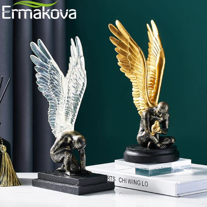 Angel Wings Модель Статуя Goldensilver Смола Креативная Современная Абстрактная Скульптура Домашний Декор Гостиная Украшения Офис Декоративные объекты