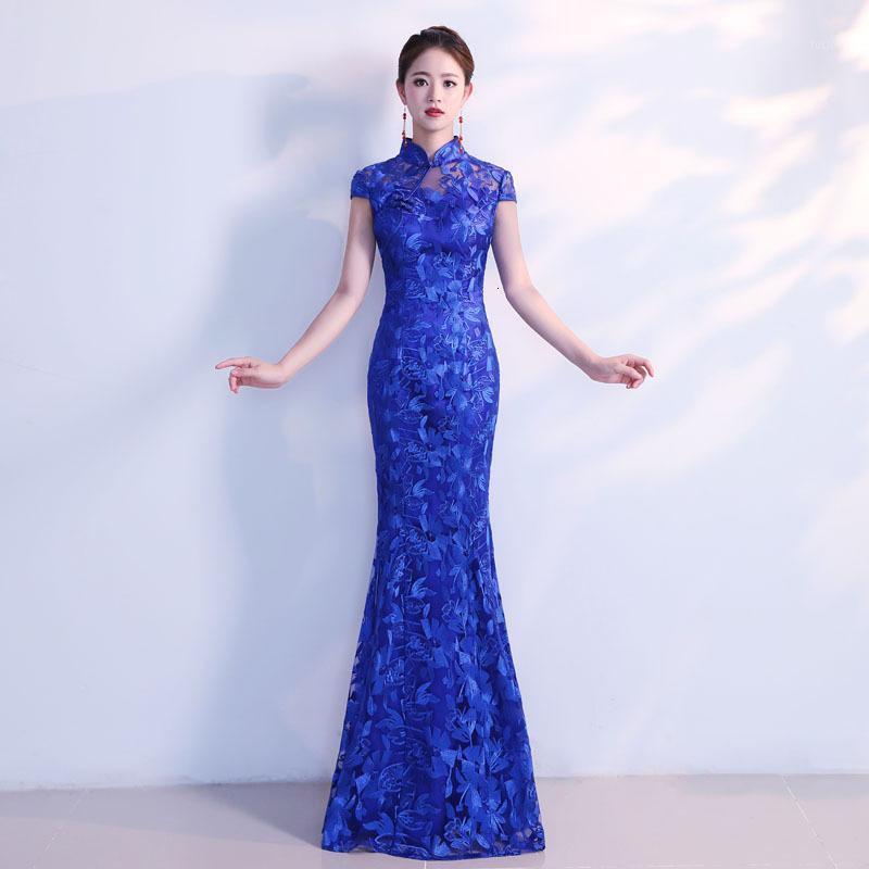 네이비 블루 레이스 cheongsam 드레스 웨딩 qipao 섹시한 동양 생일 이브닝 가운 중국 긴 전통 중국어 dresses1