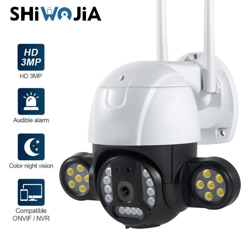 كاميرات Shiwojia 3MP PTZ WIFI كاميرا الحركة اثنين من صوت تنبيه الكشف البشري في الهواء الطلق IP AUDIO IR للرؤية الليلية فيديو CCTV Scrveilla