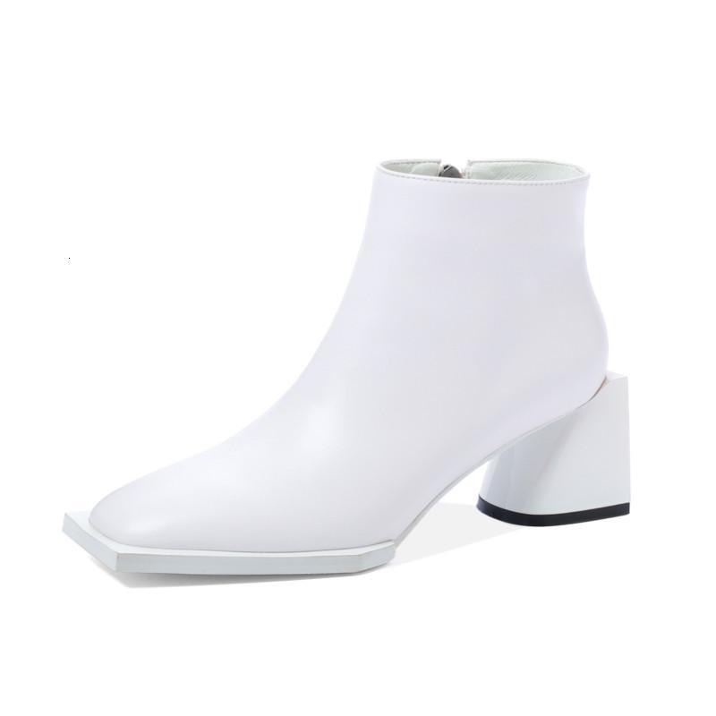 Çizmeler Asumer Avrupa Tarzı Hakiki Deri Ayak Bileği Çizmeler Kadın Kare Toe Vintage Sonbahar Kış Rahat Rahat Ayakkabılar Ladies1 LL4G