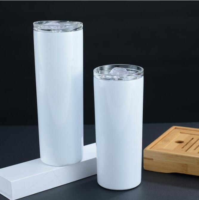 20 oz 30oz Sıska Tumblers Boş Süblimasyon Ince Fincan Kahve Kupalar Kapaklı ve Plastik Hasır Bira Kupa Deniz Kargo NdChd