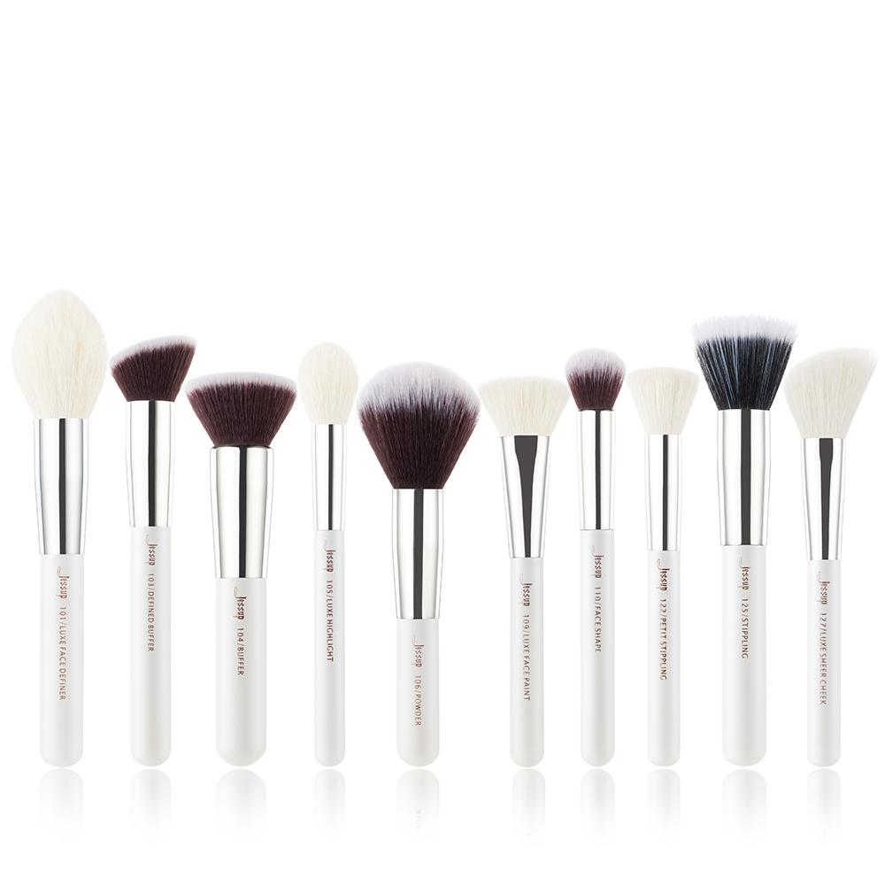 Jessup brushes 10pcs Black/Silver Face Makeup brushes set beauty Cosmetic Make up brush Contour Powder blushRabin