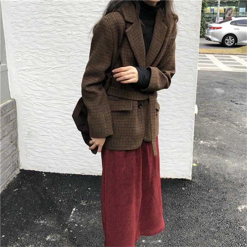 HziriP Fashion Houndstooth All Match Brief Chic Office Lady Sashes Belt 2021 Gentle Casual Woolen Leisure Women Loose Blazers Women's Suits
