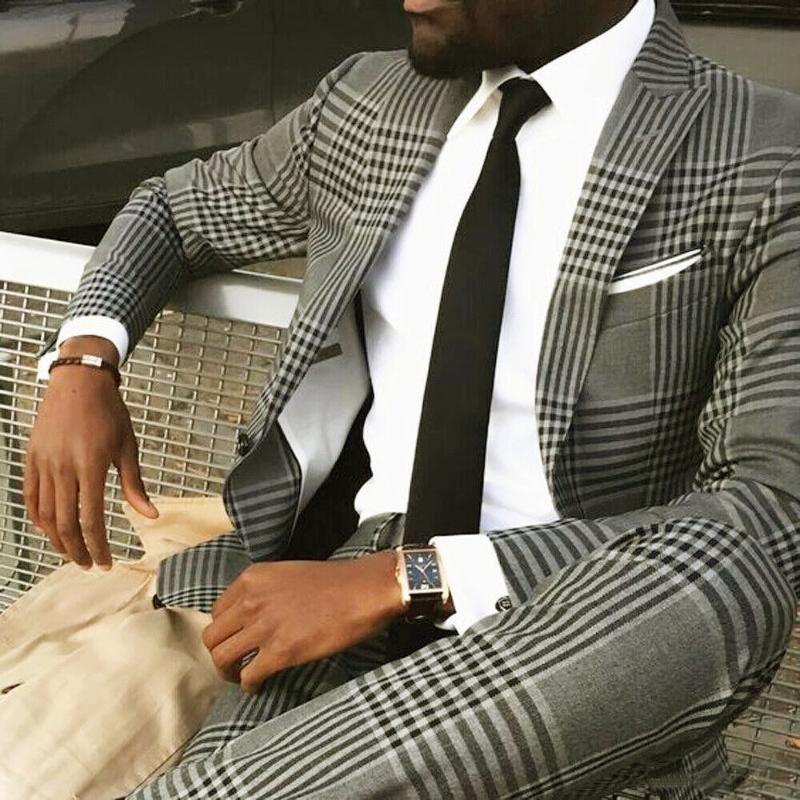Classic Slim Fit Black Plaid Check Costumes MNS pour veste de mariage + pantalon 2 pièces Ensemble de groomsman Blazer Tweed Tuxedo 2021 Blaz pour hommes