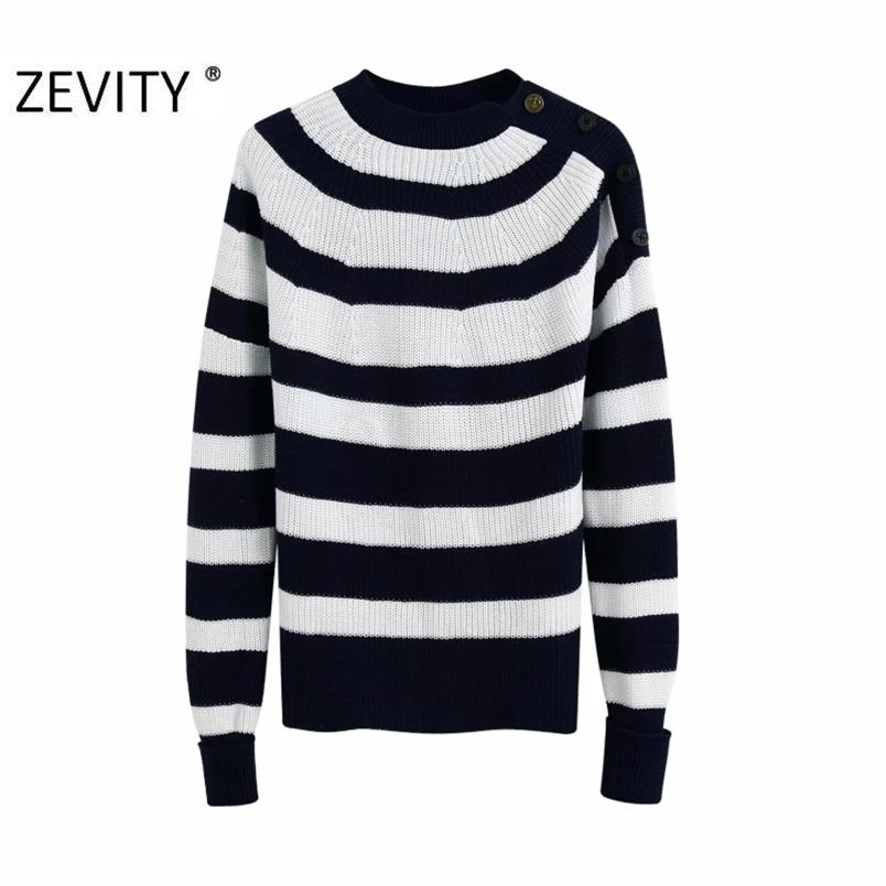 women vintage o neck striped pattern knitting casual slim sweater female shoulder button pullover sweaters chic tops S361 210420