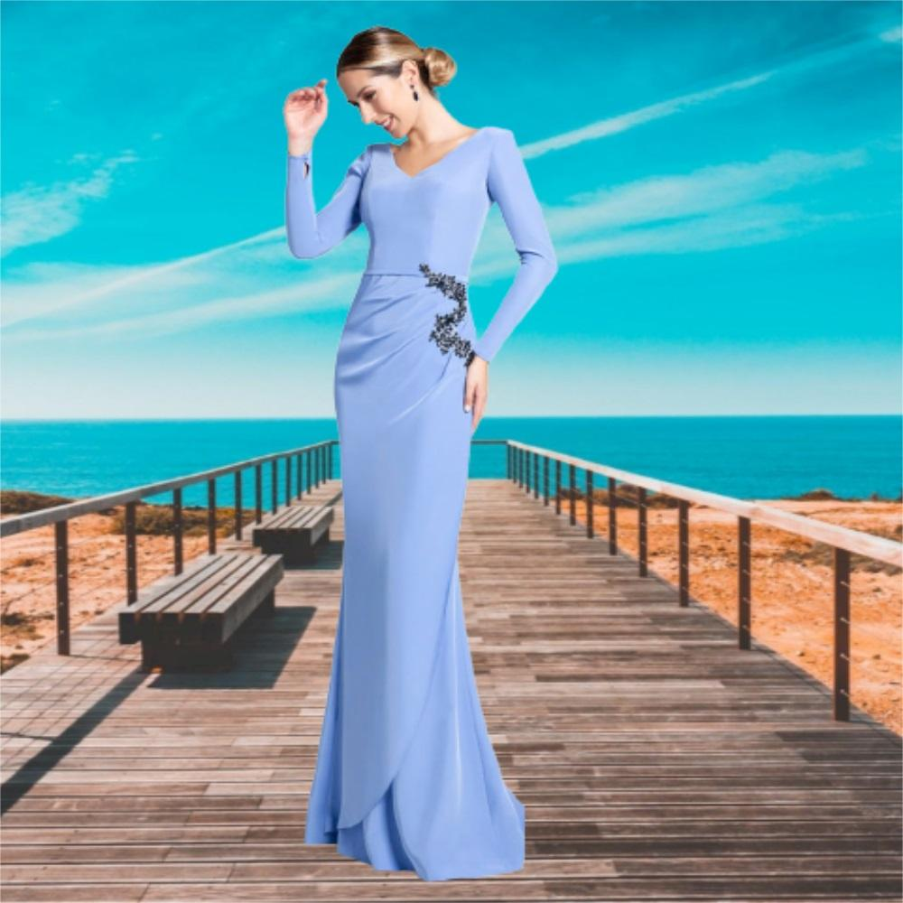 Light Sky Blue Evening Party Dress V Neak Tiered Plus Size Long Prom Dresses 2021 Sheath Special Occasion Gowns