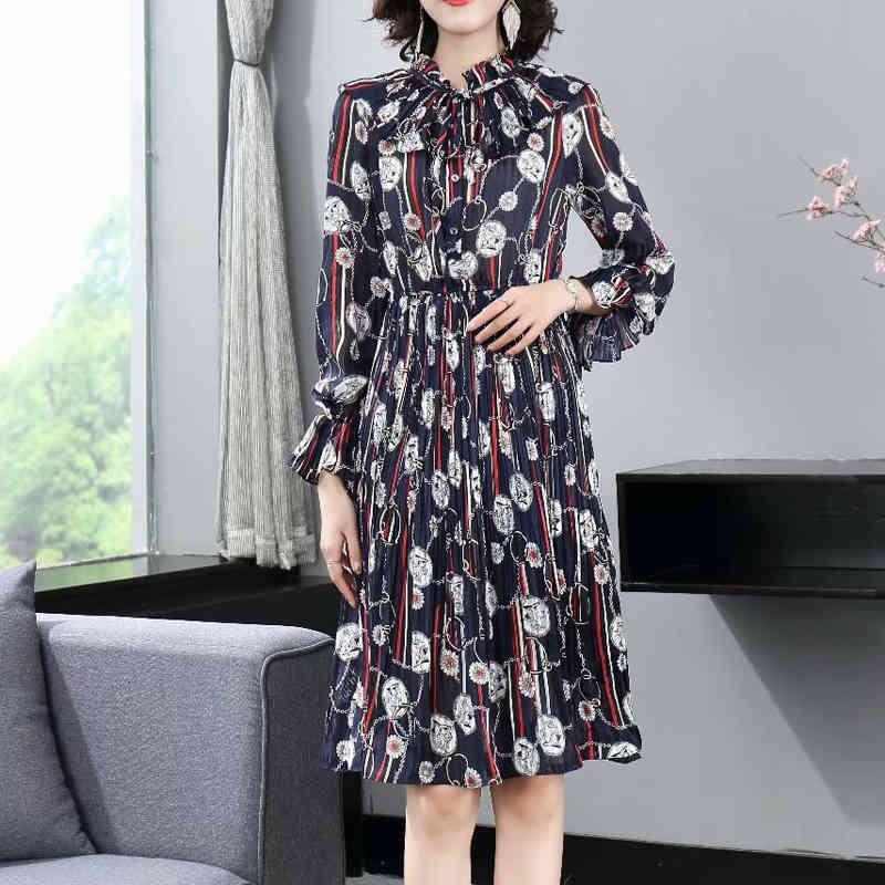 Autumn Style Retro Drucken Dünne mittelgroße Temperament Kleid Qualität Frauenkleidung