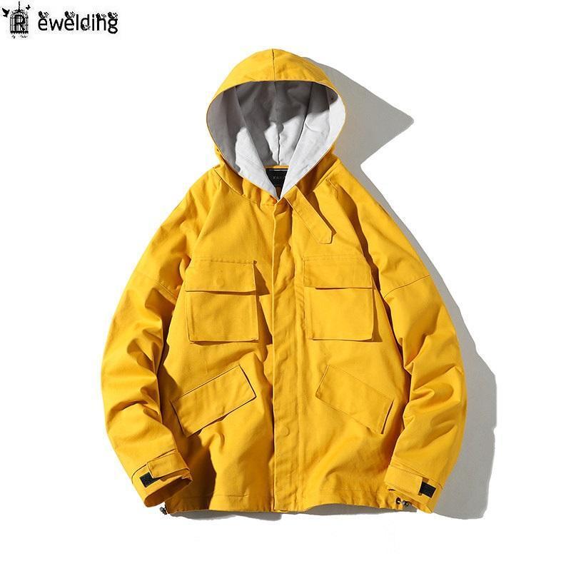 Men's Jackets Cool Hooded Jacket Men Fashion Coat Autumn Winter Hip Hop Loose Male Streetwear Casual Solid Color