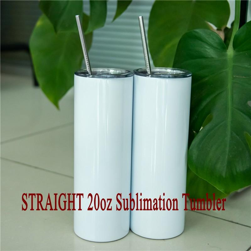 50pcs Straight 20oz Mugs White Blank Sumblimation Tumblers With Straw And Lid Stainless Steel Double Wall Water Bottles
