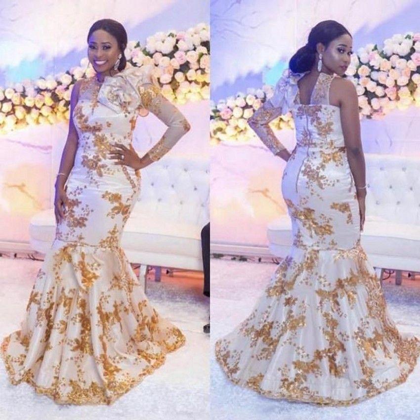 2021 Последние aso abi стиль вечерние платья с золотым аппликацией один с длинным рукавом русалка выпускной платья на заказ плюс размер арабских вечерних платьев