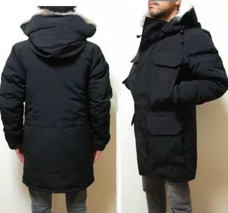 Homme Parka hiver Down Jacket Big Real Wolf Fourrure à capuche Top Qualité Doudoune Homme manteau Windbreaker Men Fermeture Zipper épais Vestes chaudes 7 Style à choisir