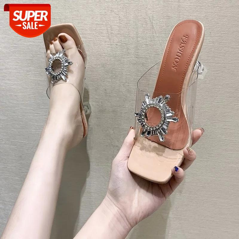 Summer Transparent High Heels Fashion Square Toe Women's Sandals Ladies Sexy Butterfly-knot Wearable Pu Slip on Women Shoes #tP1b