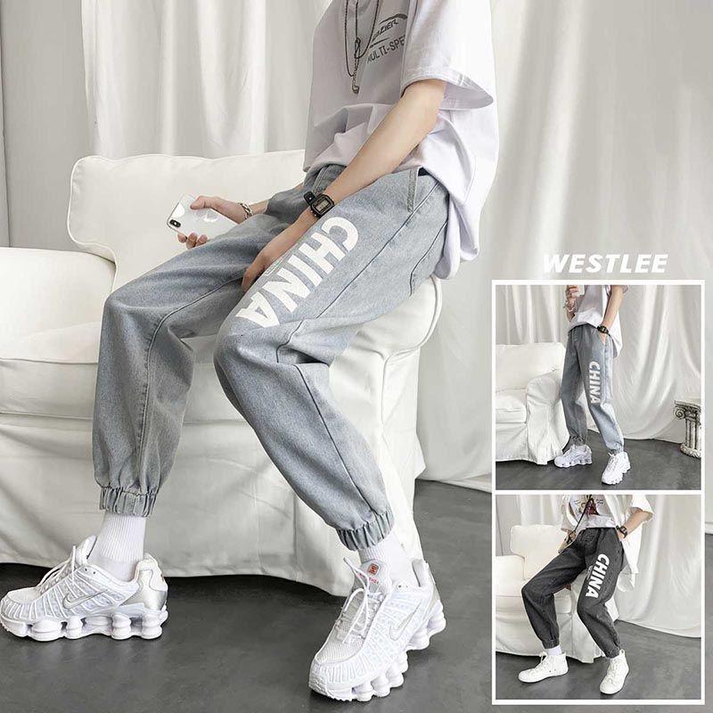Trendy Marke Beinged Jeans Männer Koreanische Mode Lose Wide Bein Harlan Vielseitige neun Punkt Elastische Taille Casual Hose