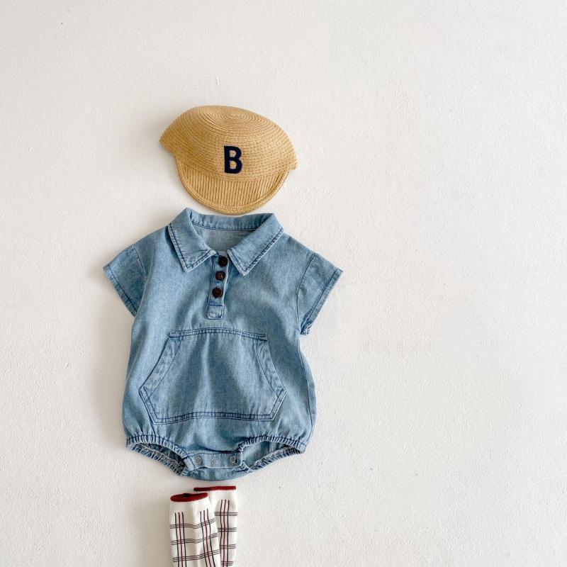 Ankunft Geborenes Baby Junge Strampler Infant Mädchen Kleidung Große Taschendekoration Kleinkind Jumpsuit Denim Kurzarm Sommer Overallsuits