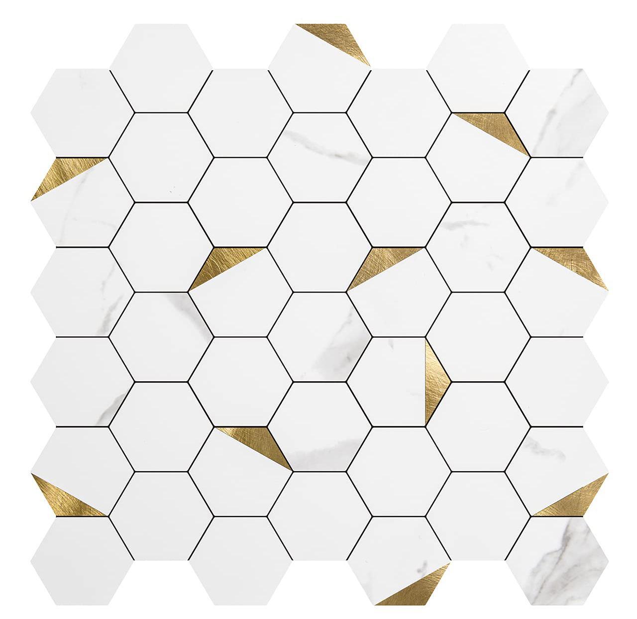 Art3D 10-folhas 3D adesivos de parede auto-adesivo Casca de mosaico de hexágono e palito Backsplash Tiles para cozinha banheiro, papéis de parede (31x30cm)