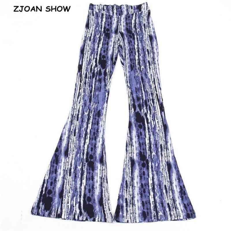 Urlaub Blaue Krawatte-Farbstoff-Vertikalstreifen-Druck-Fackelhose Frauen Boho Tribal Afrikanische Hippie-Hosen Bell-Leggings Bottom Longhose 210414