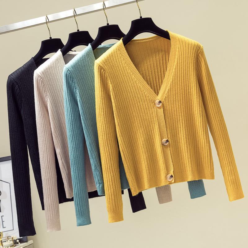 패션 여성 니트 카디건 코트 가을 겨울 2021 캐주얼 V 넥 긴 소매 크로 셰 뜨개질 니트 스웨터 여성 탑 여성 니트 티