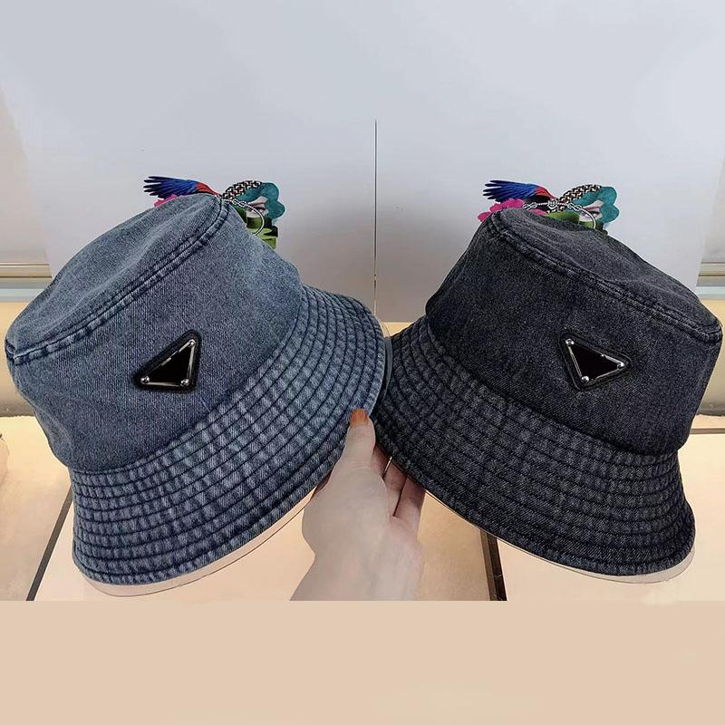 Cappelli da uomo Cappello Cappelli Cappelli Cappelli da uomo Estate Donna Cappelli Attrezzature Fashion Brand Metal Triangle Berry Berry Washed Denim Bonnet 2021042304xv
