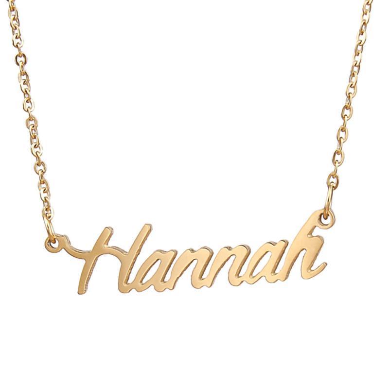 Hannah Name Halskette personalisierte Edelstahl Frauen Choker 18 Karat vergoldet Alphabelt Brief Anhänger Schmuck Freunde Geschenk Chokers