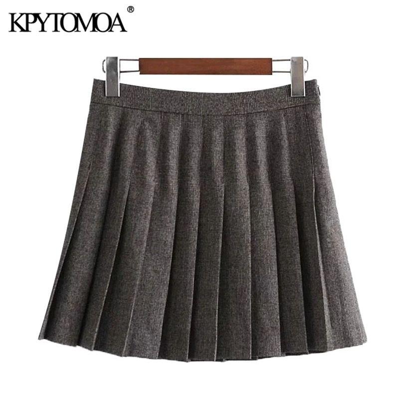 Kpytomoa-Frauen schicke Mode mit Futter gefalteter Check Minirock Vintage Hohe Taille Seite Reißverschluss Weibliche Röcke Mujer 210412