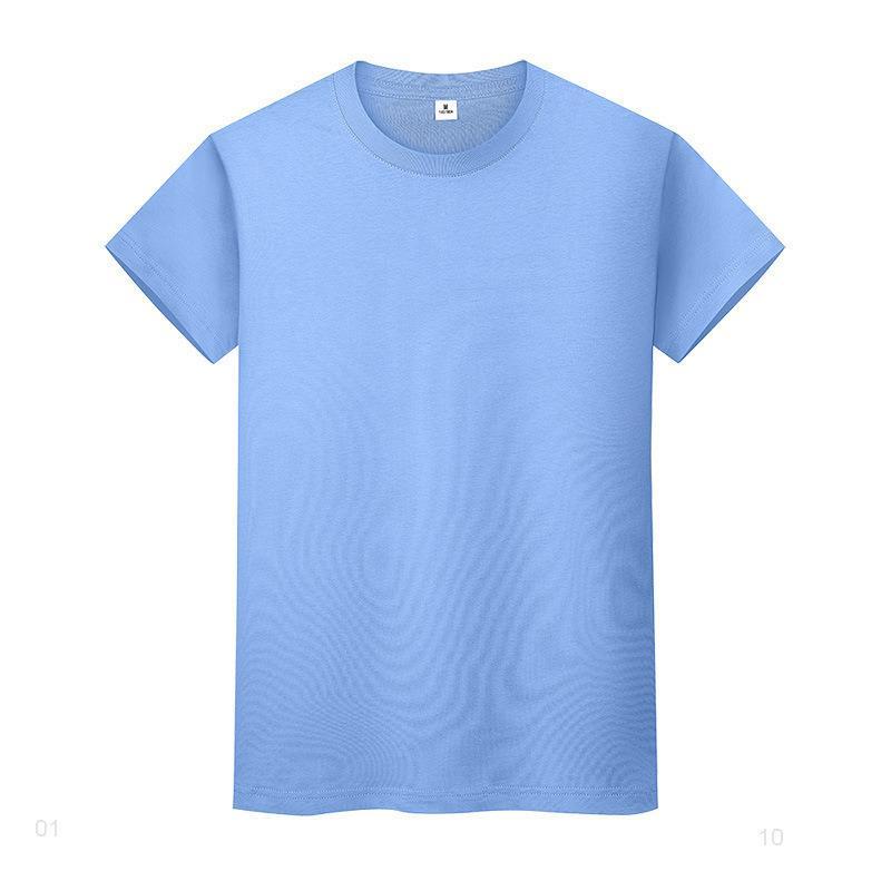 Круглая шея сплошная цветная футболка летом хлопчатобумажная рубашка с короткими рукавами и женские полусмысленные 6155ii