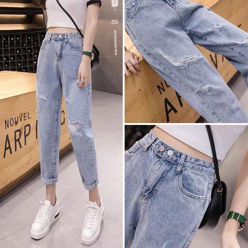 Verano 2021 Jeans de cintura alta para mujer sueltos, delgados, agujeros y versátil de nueve puntos de pierna ancha del tubo recto Harlan's Radish Pantalones