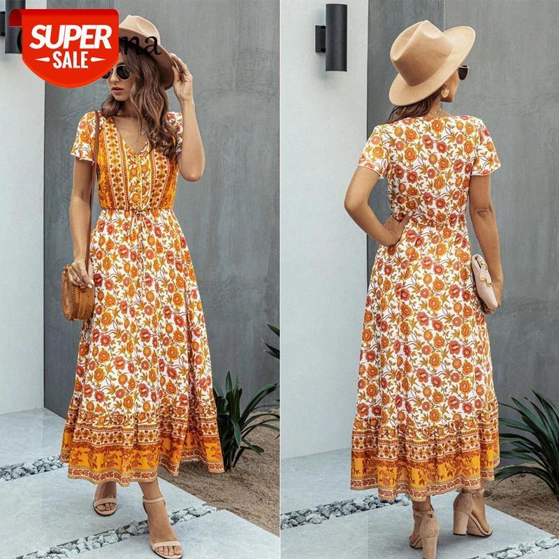 Elbise Retro Çiçek Baskı Maxi Kadınlar V Yaka Kısa Kollu Lace Up Sundress Plaj Boho Swing Flowy Yaz Elbiseler Vestido Parti # SY1V