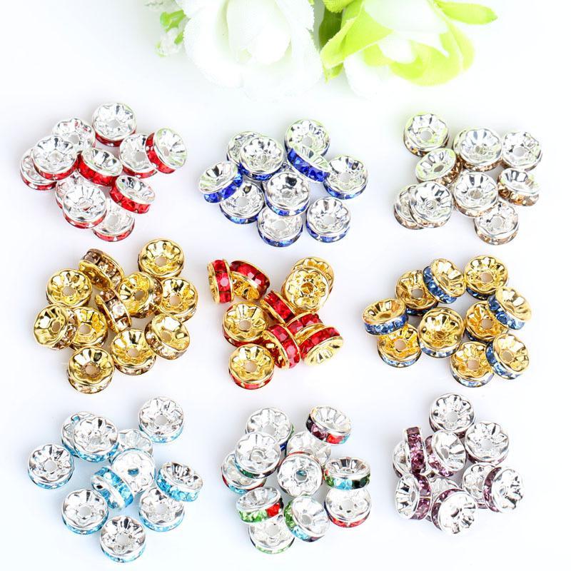 Perle sfusa per i braccialetti europei Risultati misti Multicolor Strass Silver Placcato Big Hole Crystal Zircon Beads Distanziatore 6mm 8mm10mm 708 Q2
