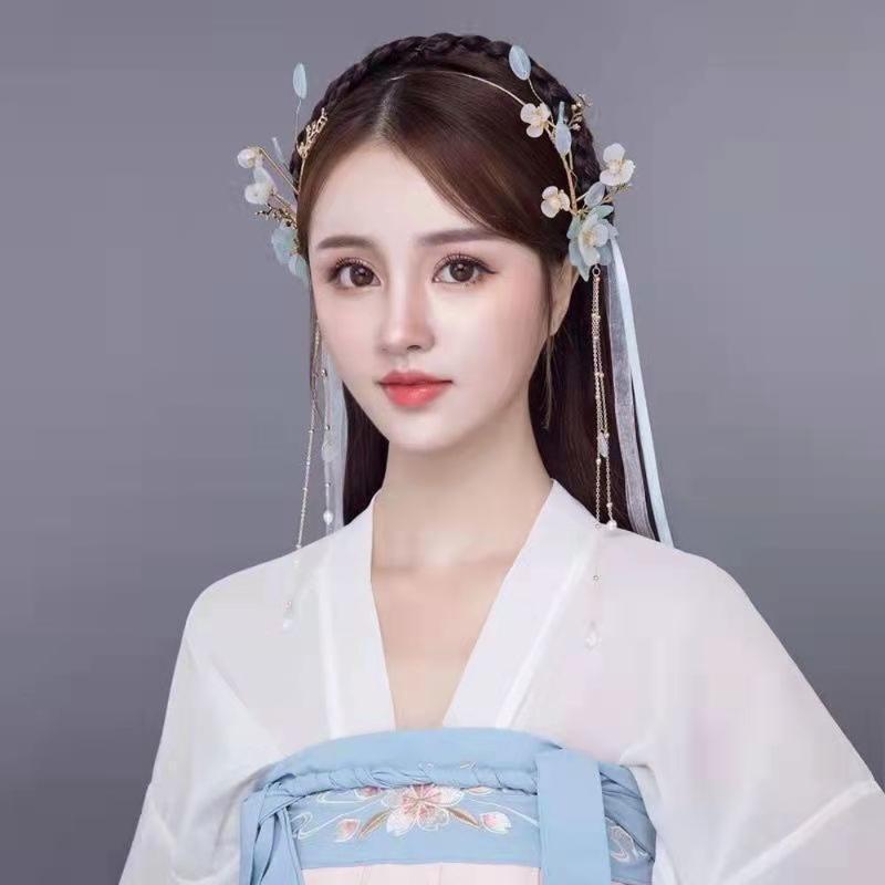 Hair Clips & Barrettes Vintage Headband Bridal Headwear Silk Yarn Feather Band With Ribbon Wedding Dress Flower Accessories