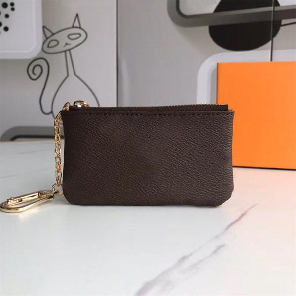 كيس الحقيبة محافظ m62650 pochette cles مصمم أزياء المرأة رجل بطاقة الائتمان حامل عملة محفظة مصغرة محفظة حقيبة سحر براون قماش