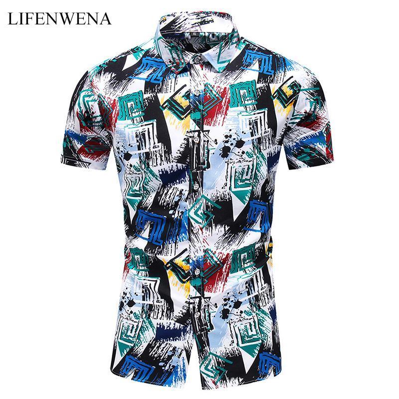 남성 여름 하와이 셔츠 패션 개성 인쇄 짧은 소매 셔츠 남성 캐주얼 플러스 사이즈 비치 휴가