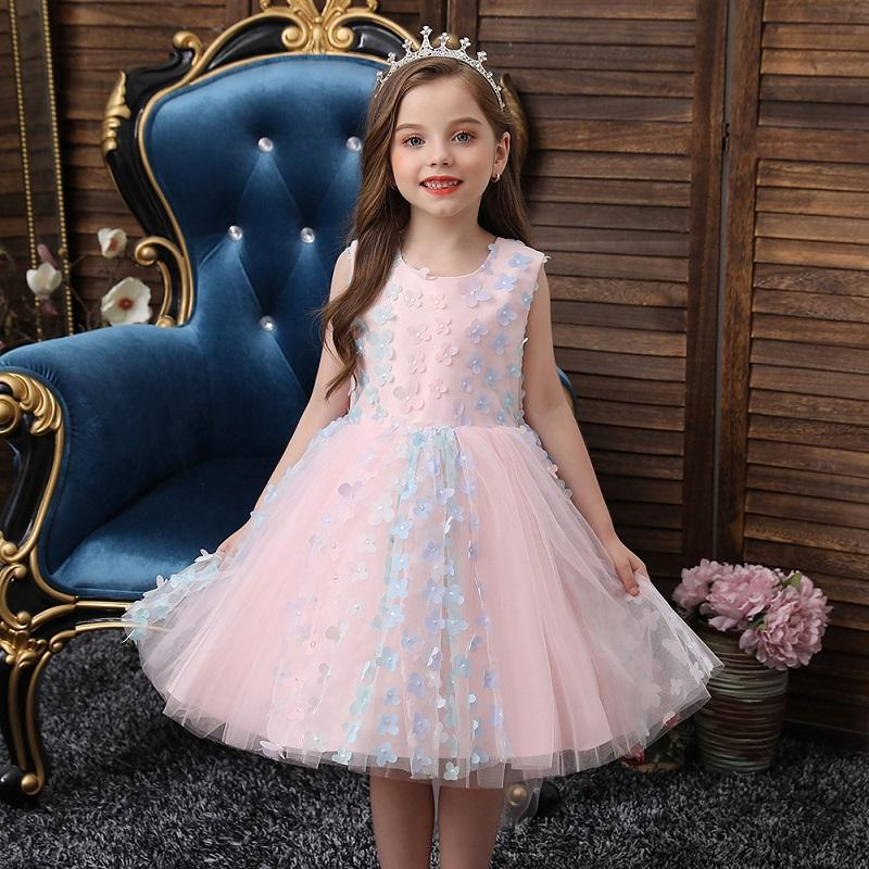 طفل الفتيات 3d زهرة منمق أومبير الأزهار soutache تول اللباس حجم 1-6 فساتين المعمودية