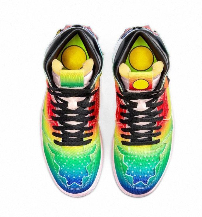 air jordan jordans travis scott retro J Balvin 1 High Men Shoes Basket Scarpe Jumpman 1s Coloras Y Vibras Tie Dye Multi colore Rainbow Mens Trainer Sport A9FM #