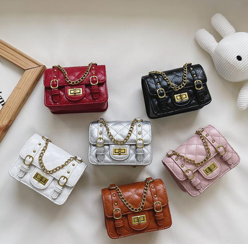 Luxury Girls Diamond lattice handbag lady style kids double buckles Metal chain messenger bag 2021 designer children one shoulder bags A7829