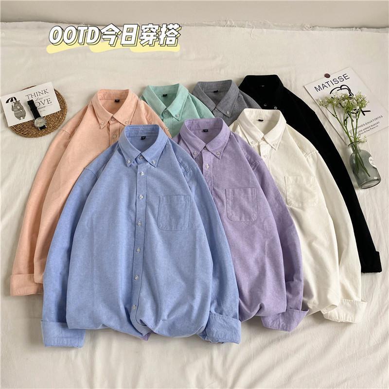 힙합 남자 솔리드 셔츠 남성 가로복 긴 소매 셔츠 코튼 자켓 캐주얼 코트 남성 7 색 M-5XL