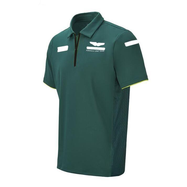 2021 포뮬러 1 공동 브랜드 자동차 로고 F1 팀 레이싱 슈트 반팔 폴로 셔츠 통기성 반팔 둥근 목 셔츠 맞춤 티셔츠