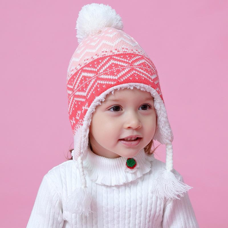 겨울 모자 소녀 이어폰 양털 비니 가을 니트 따뜻한 아이 Pompom 핑크 아크릴 스키 야외 액세서리 유아 아기 모자 모자에 대 한